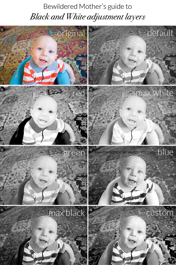 """Black and White adjustment layers via """"How to Take Good Photos of Active Kids"""""""